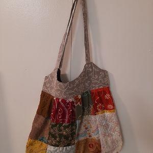 Greater good boho recycled silk/cotton hobo bag